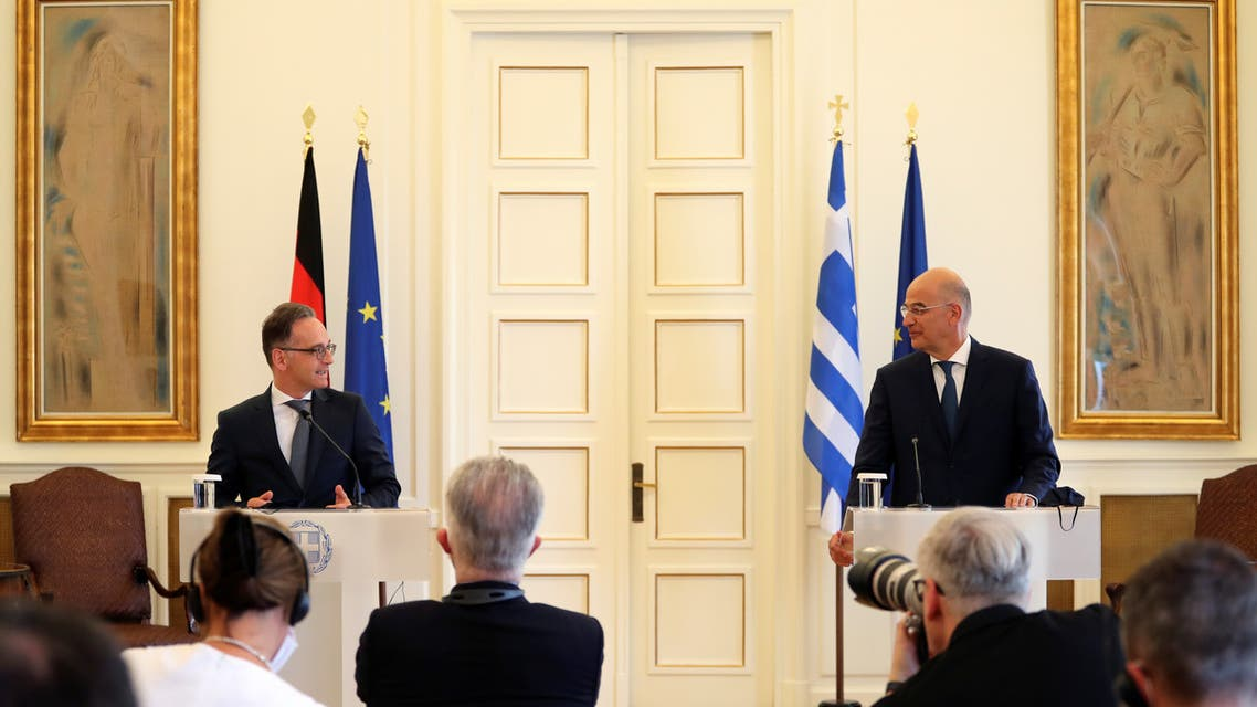 German Foreign Minister Heiko Maas speaks next to Greek Foreign Minister Nikos Dendias during a news conference at the Ministry of Foreign Affairs in Athens, Greece, July 21, 2020. REUTERS/Alkis Konstantinidis