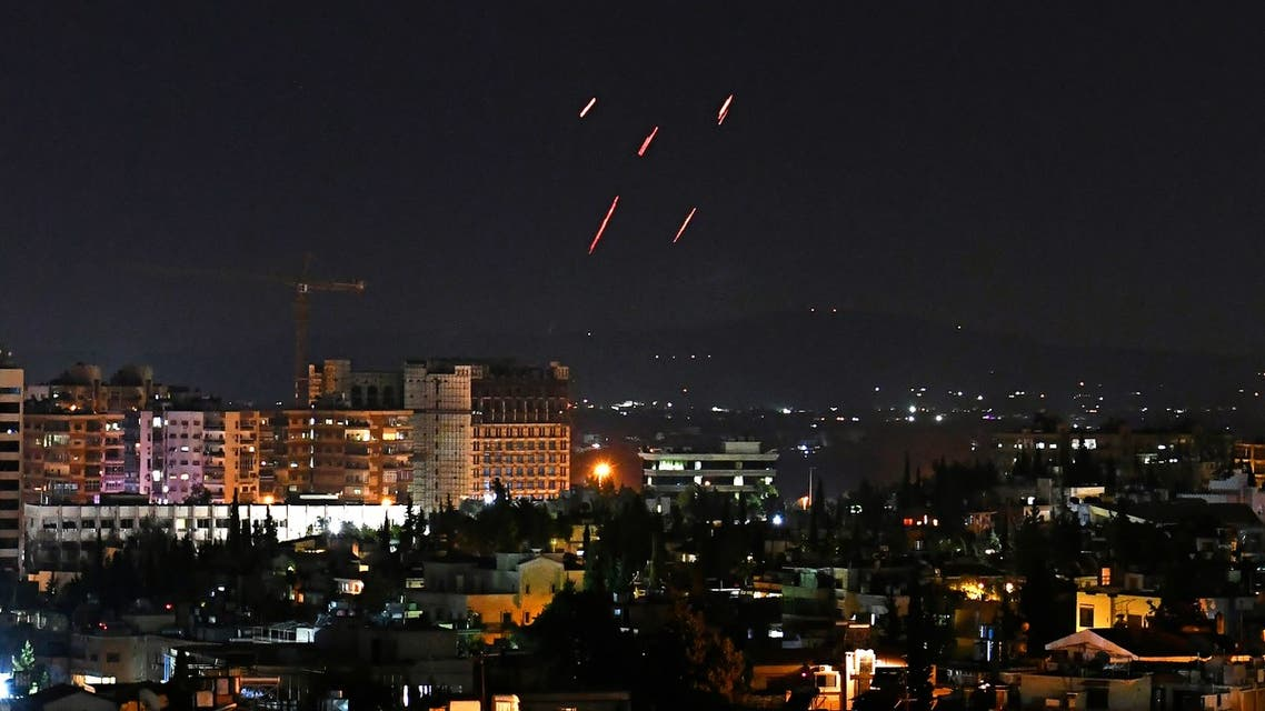 Syrian Air defences respond to Israeli missiles targeting south of the capital Damascus, on July 20, 2020. Israeli strikes south of the Syrian capital wounded seven Syrian soldiers, state media reported, in an attack which a war monitor said hit several positions of regime forces and Iran-backed militias.