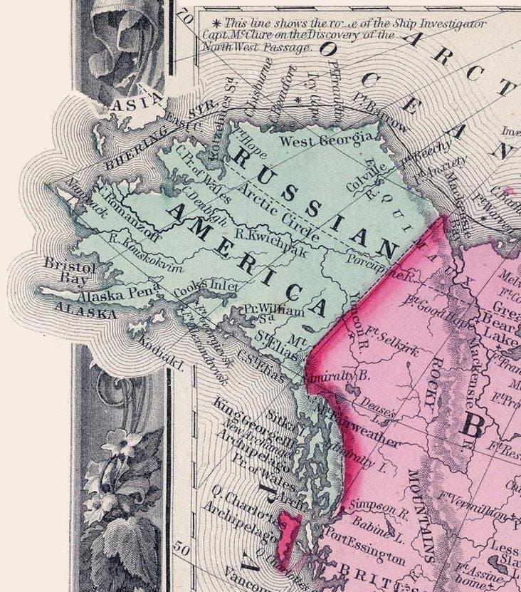 خريطة أميركا الروسية عام 1860