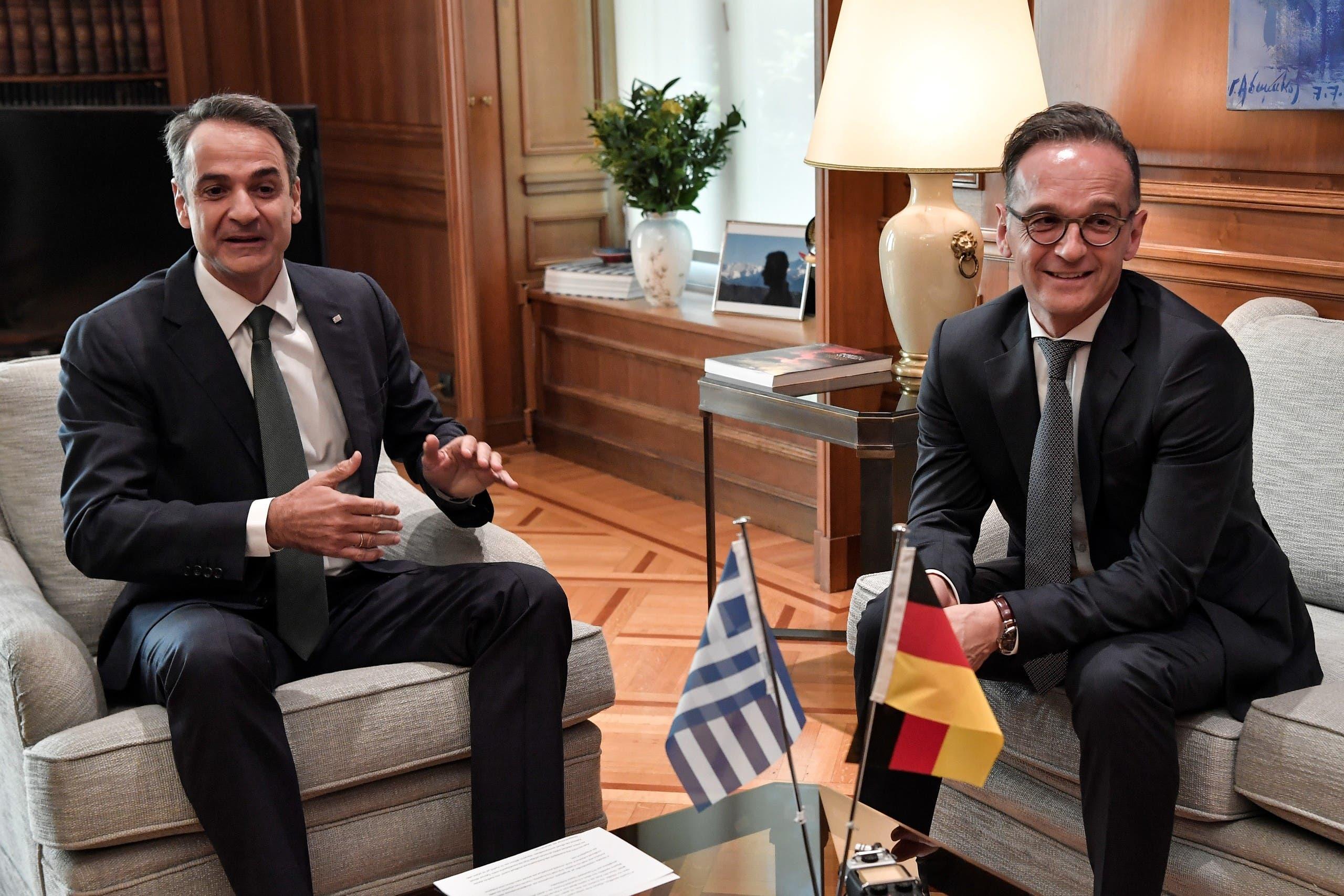 هايكو ماس مع رئيس الوزراء اليوناني كيرياكوس ميتسوتاكيس