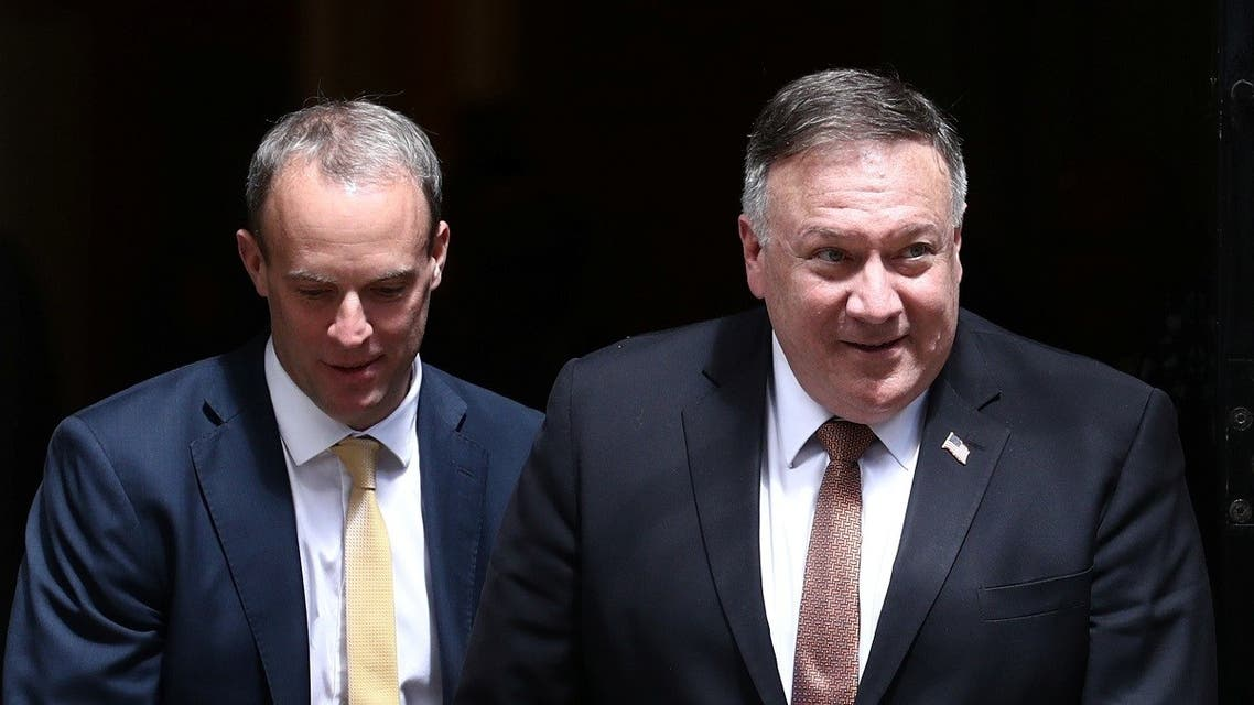 Britain's Foreign Secretary Dominic Raab and US Secretary of State Mike Pompeo leave Downing Street in London, Britain, on July 21, 2020. (Reuters)