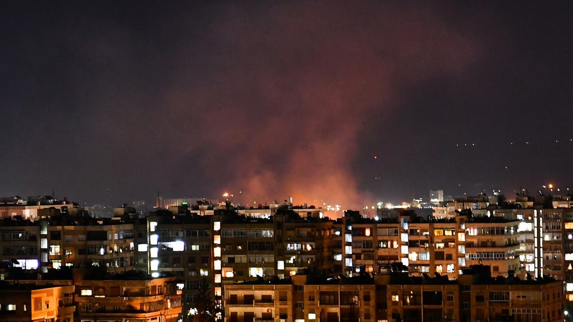 Smoke billows following an Israeli airstrike targeting south of the capital Damascus, on July 20, 2020. Israeli strikes south of the Syrian capital wounded seven Syrian soldiers, state media reported, in an attack which a war monitor said hit several positions of regime forces and Iran-backed militias.