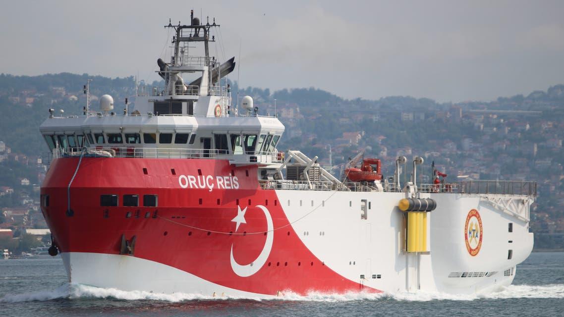 Turkish seismic research vessel Oruc Reis sails in the Bosphorus in Istanbul, Turkey, October 3, 2018. Picture taken October 3, 2018. REUTERS/Yoruk Isik