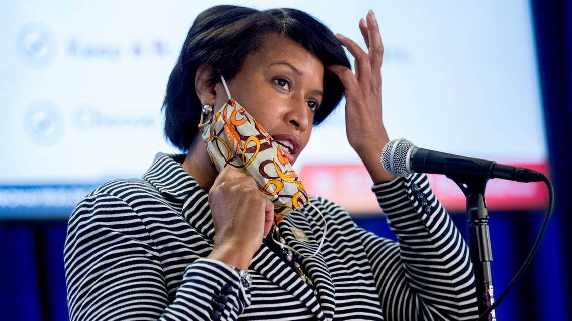 District of Columbia Mayor Muriel Bowser wears a face mask to protect against the spread of the coronavirus outbreak, as she speaks at a news conference on the coronavirus and the District's response, Monday, July 20, 2020 in Washington. (AP)