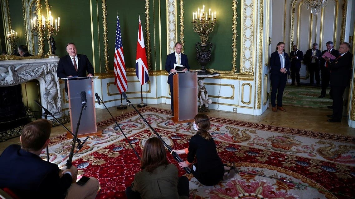 British Foreign Secretary Dominic Raab meets with U.S. Secretary of State Mike Pompeo, at Lancaster House in London, Britain, on July 21, 2020. (Reuters)
