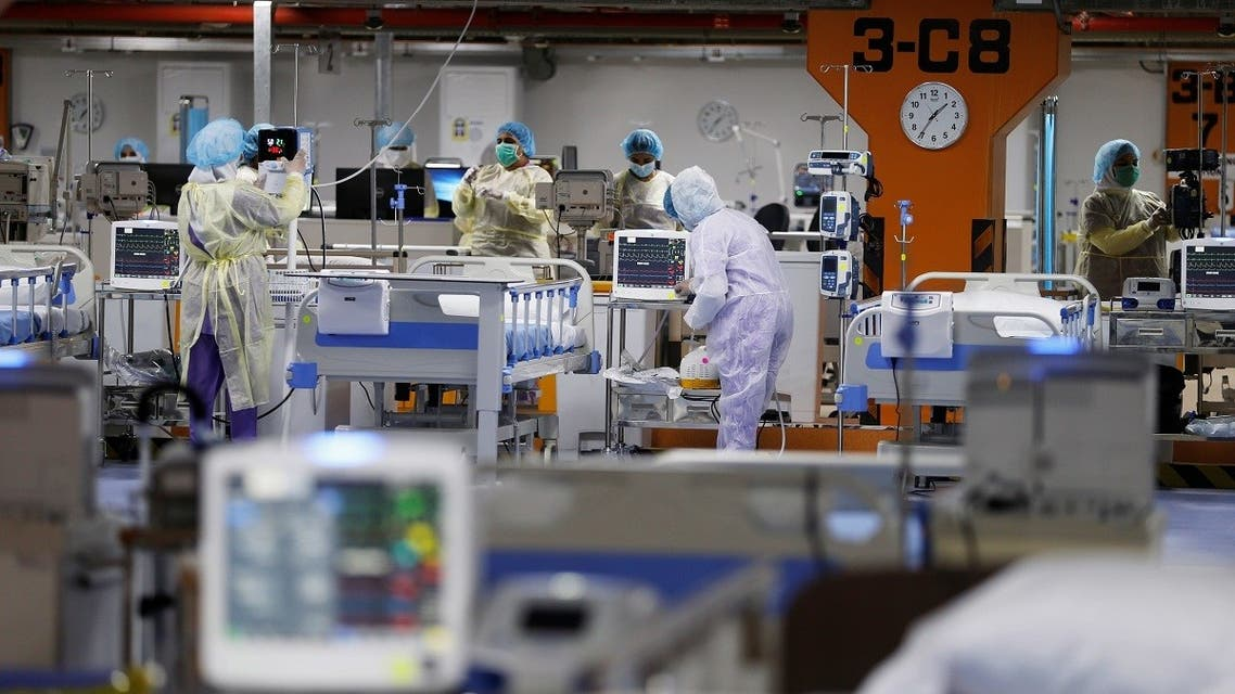 A makeshift ICU Field Intensive Care Unit 1 set up by Bahrian authorities to treat the coronavirus disease (COVID-19) critical patients, at a car-park of Bahrain Defence Force Hospital in Riffa. (Reuters)