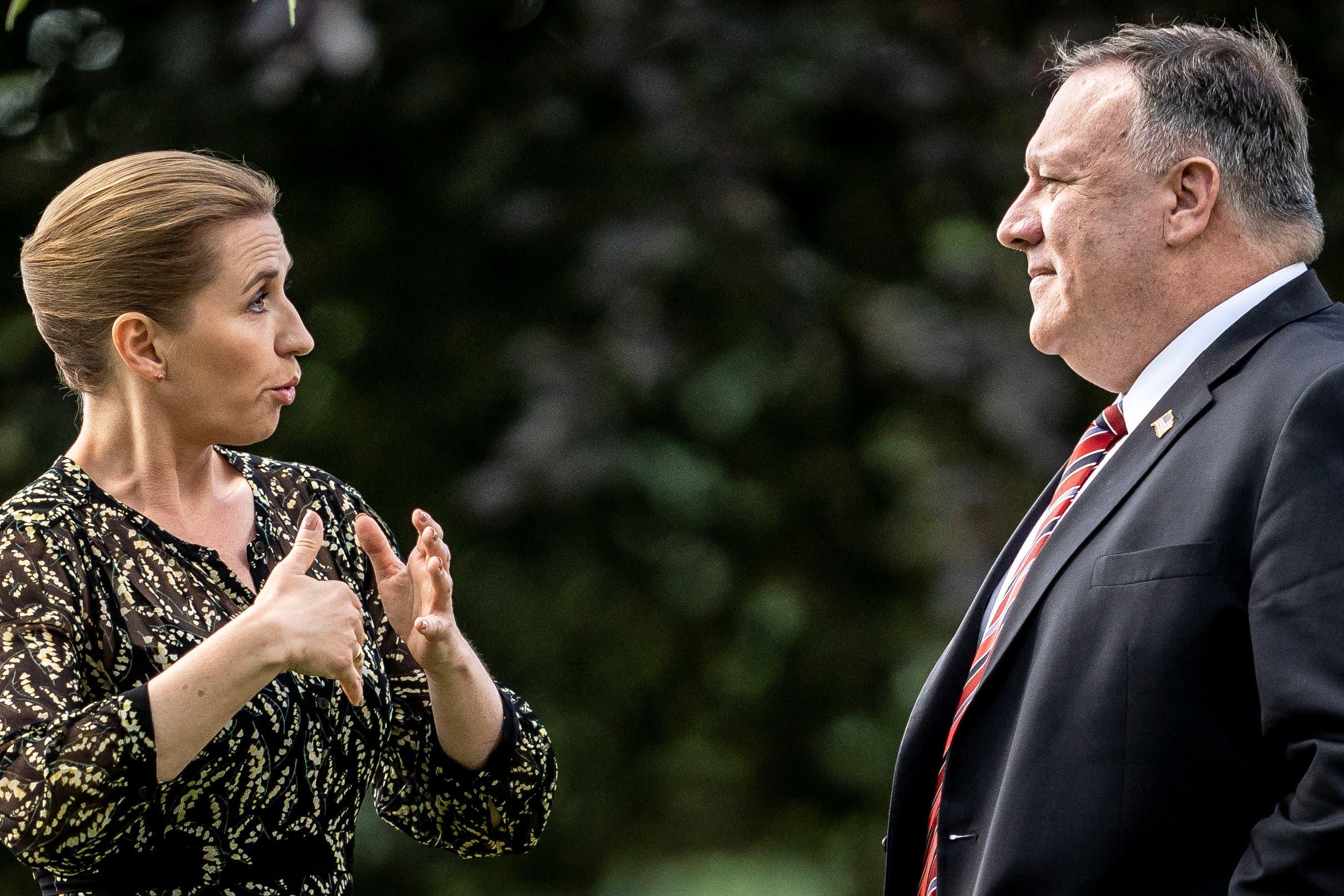 بومبيو مع  رئيسة الوزراء الدنماركية ميتي فريدريكسن