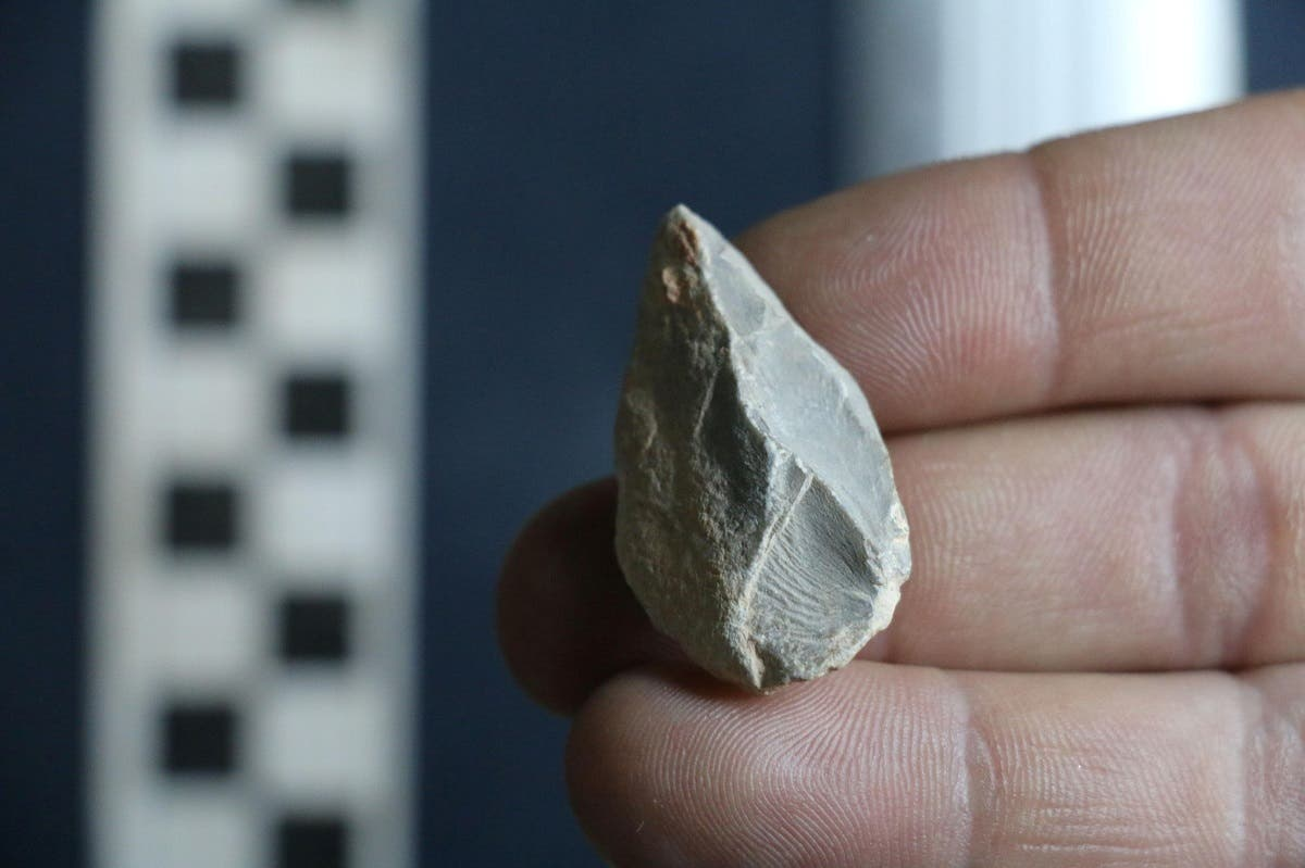 A prehistoric stone tool found at a cave in Zacatecas in central Mexico is seen in this image released on July 22, 2020. (Reuters)
