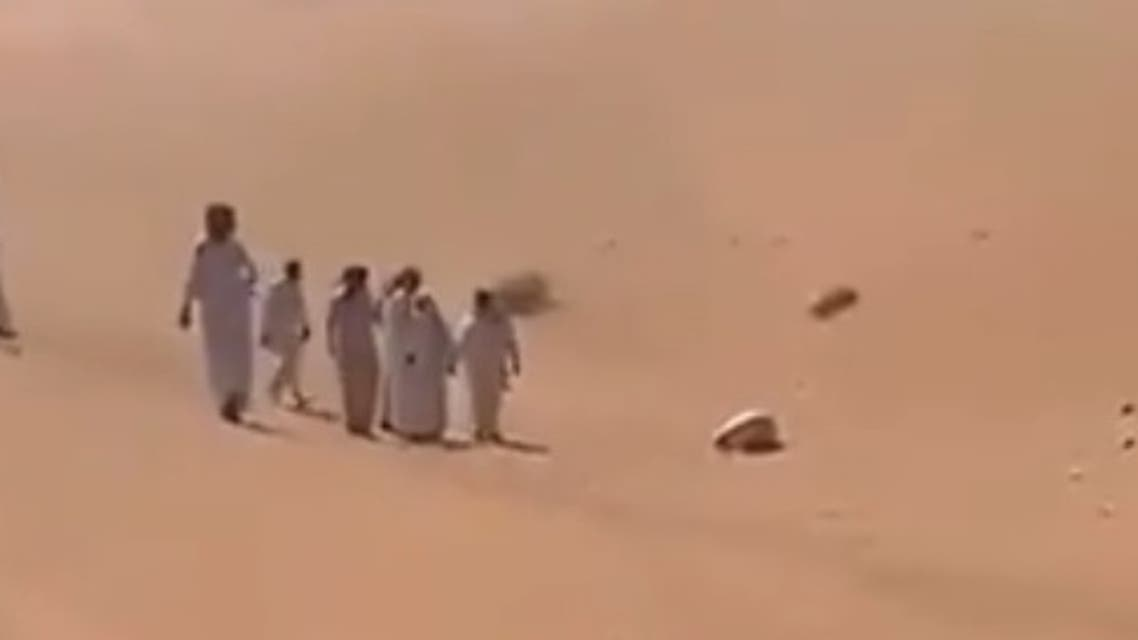 """Dhuwaihi Hamoud al-Ajaleen who was found  in the middle of a desert in Riyadh province while he was in the """"sujood"""". (Twitter)"""