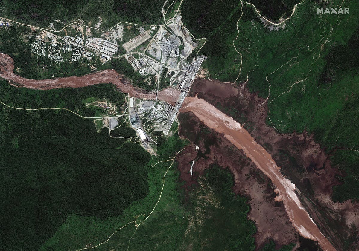 A satellite image shows a view of the Grand Ethiopian Renaissance Dam (GERD) and the Blue Nile River in Ethiopia on June 26, 2020. (Courtesy Maxar Technologies via Reuters)