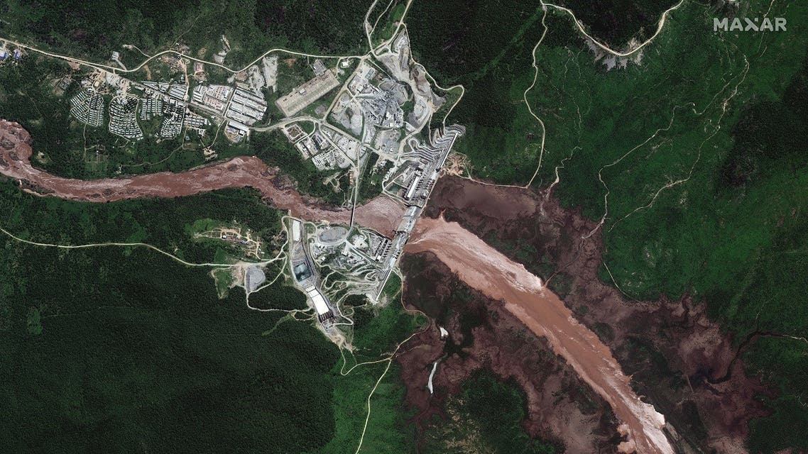 A satellite image shows a view of the Grand Ethiopian Renaissance Dam (GERD) and the Blue Nile River in Ethiopia on June 26, 2020. ( Courtesy Maxar Technologies via Reuters)
