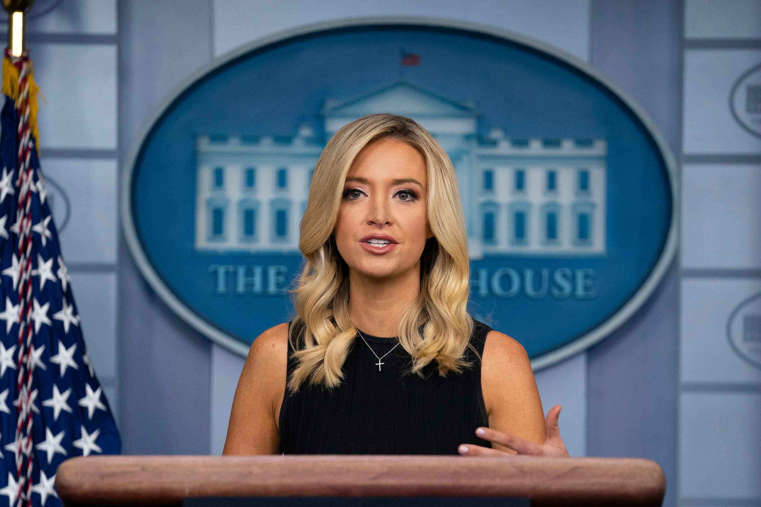 White House press secretary Kayleigh McEnany speaks during a press briefing at the White House on July 21, 2020, in Washington. (AP)