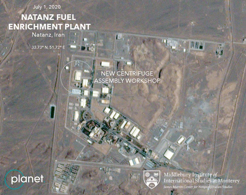 A handout satellite image shows the new centrifuge assembly workshop at the Natanz Fuel Enrichment Plant. (Planet Labs Inc and Middlebury Institute of International Studies at Monterey via Reuters)