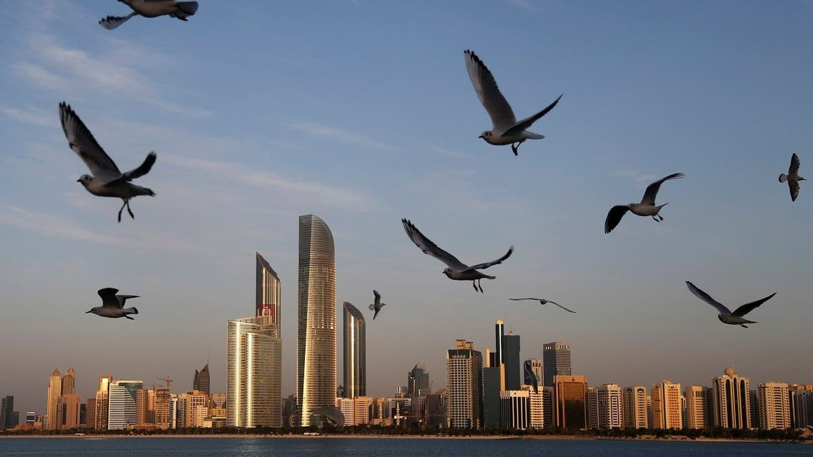 Seagulls fly over the city skyline in Abu Dhabi, United Arab Emirates. (AP)