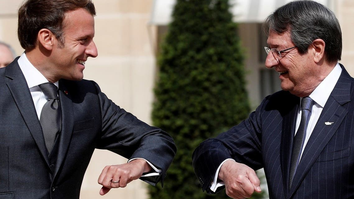 French President Emmanuel Macron welcomes his counterpart of Cyprus Nicos Anastasiades at the Elysee Palace in Paris, France, July 23, 2020. (Reuters)