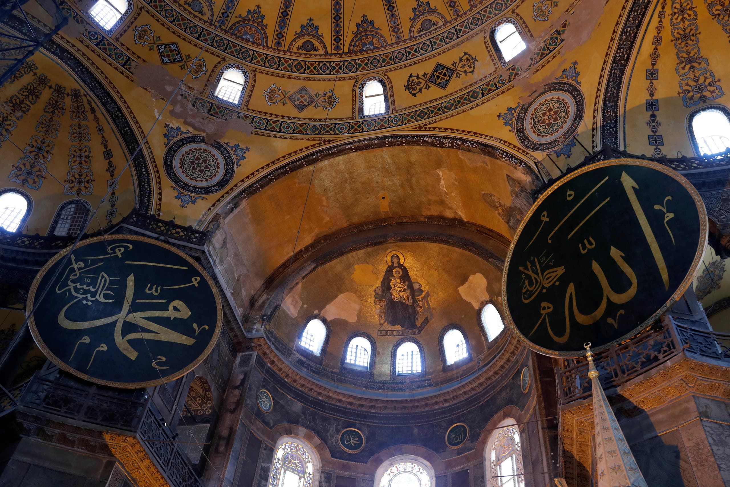 A mosaic depicting The Virgin Mary and Jesus is seen at Hagia Sophia, in Istanbul, Turkey, July 2, 2020. (Reuters)