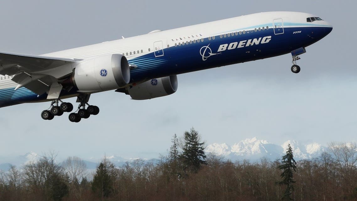A Boeing 777X airplane takes off during its first test flight from the company's plant in Everett, Washington, US, on January 25, 2020. (Reuters)