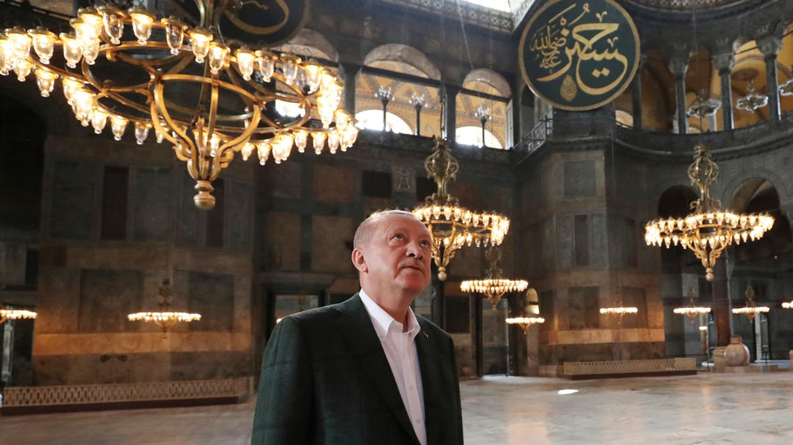 Turkey's President Recep Tayyip Erdogan, visits the Byzantine-era Hagia Sophia, in Istanbul on July 19, 2020. (AP)