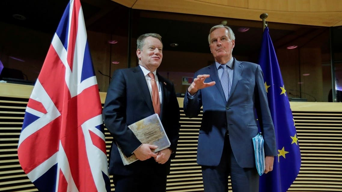 European Union chief Brexit negotiator Michel Barnier and British Prime Minister's Europe adviser David Frost 5 are seen at start of the first round of post -Brexit trade deal talks between the EU and the United Kingdom, in Brussels, Belgium, on March 2, 2020. (Reuters)
