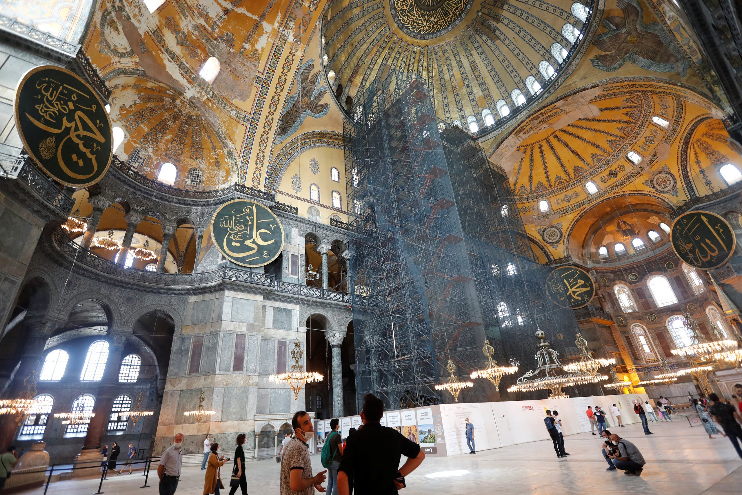 People visit the Hagia Sophia, a UNESCO World Heritage Site, in Istanbul, Turkey, July 10, 2020. (Reuters)