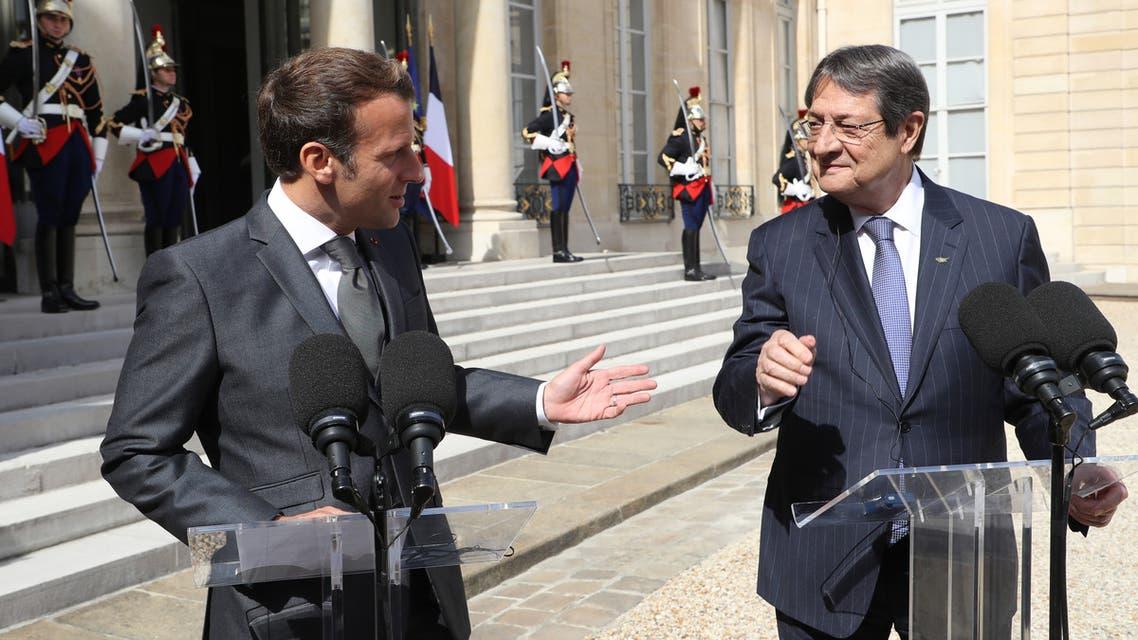 الرئيس الفرنسي ونظيره القبرصي(23 يوليو 2020- فرانس برس)