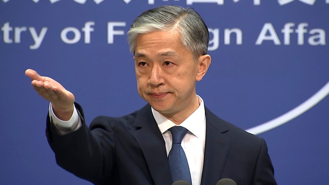 Foreign ministry spokesperson Wang Wenbin gestures during the daily briefing held at the Foreign Ministry in Beijing on July 22, 2020. (AP)