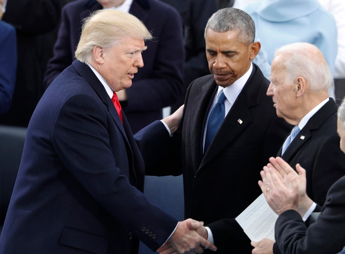 President Donald Trump greets former VP Joe Biden and former President Barack Obama after being sworn in as the 45th president of the United States. (File Photo: Reuters)