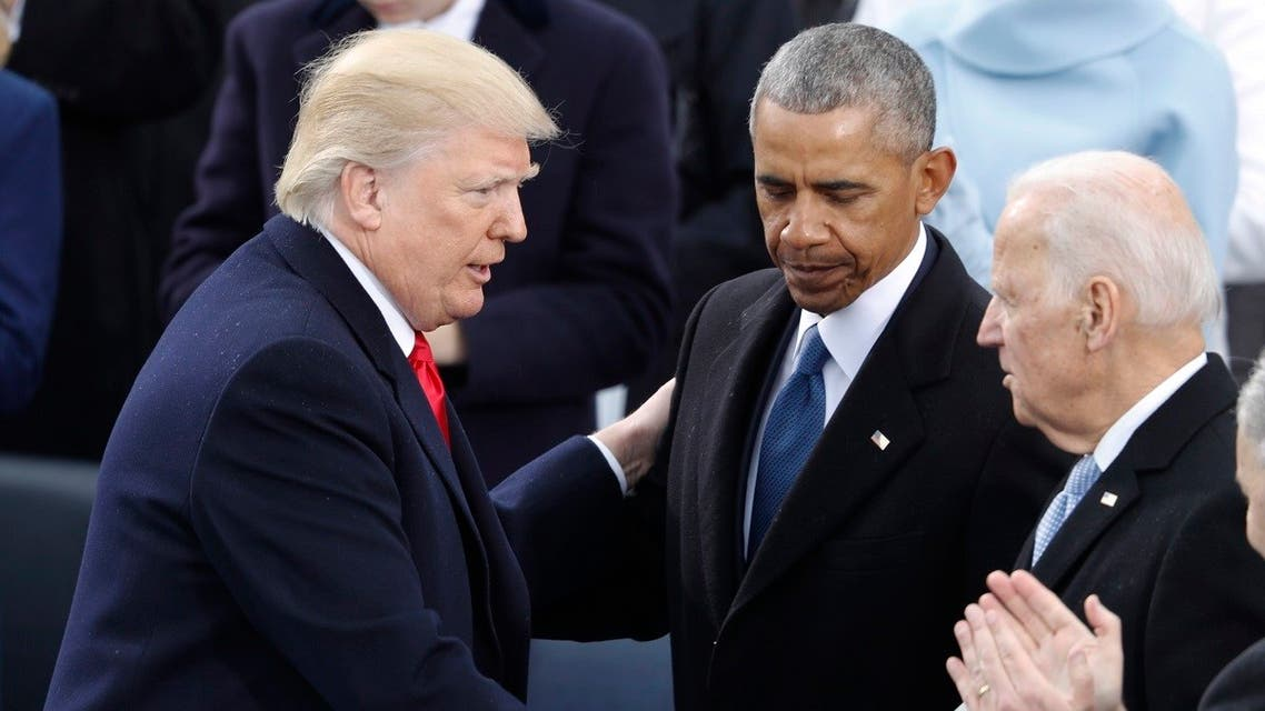 President Donald Trump greets former VP Joe Biden and former President Barack Obama after being sworn in as the 45th president of the US. (File Photo: Reuters)