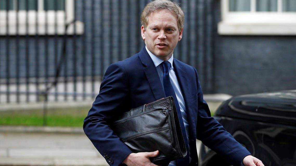Britain's Secretary of State for Transport Grant Shapps outside Downing Street, London, Britain, on March 17, 2020. (Reuters)