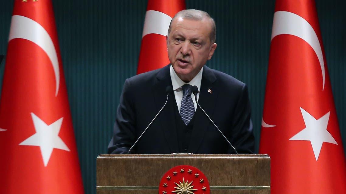 Turkish President Recep Tayyip Erdogan delivers a speech in Ankara on July 14, 2020. (AFP)