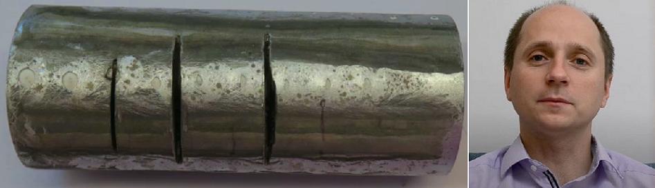 الدكتور سزينيسفوسكي، وقطعة من أول مادة ينتجها الانسان، ويستحيل عليه قطعها