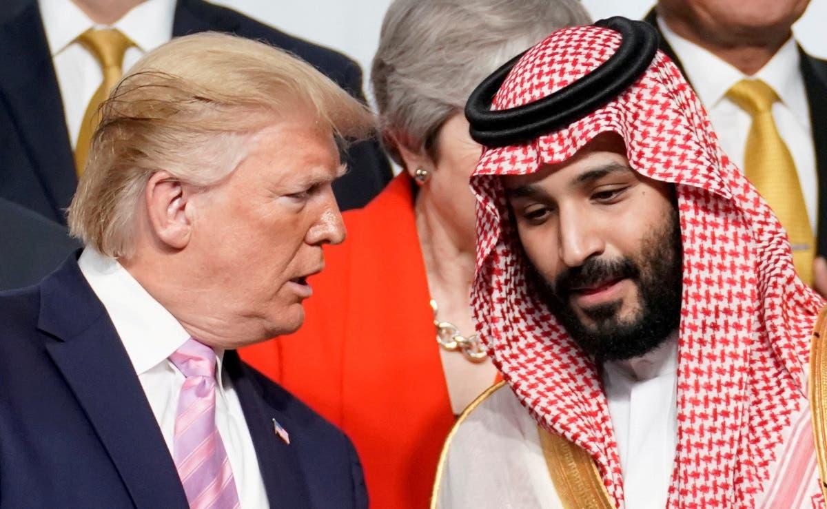 US President Donald Trump speaks with Saudi Arabia's Crown Prince Mohammed bin Salman at the G20 leaders summit in Japan, June 28, 2019. (File Photo: Reuters)