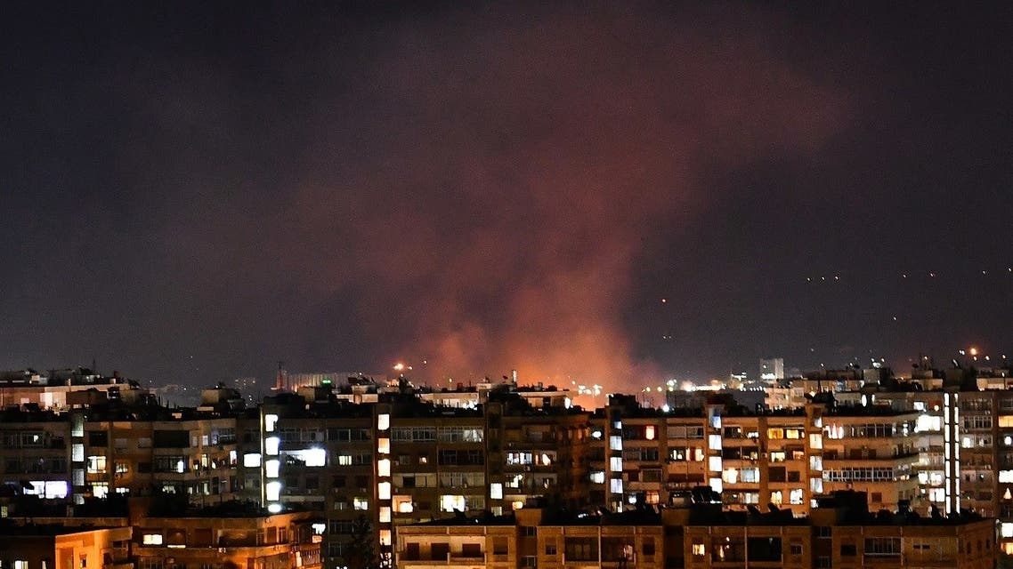 Smoke billows following an Israeli airstrike targeting south of the capital Damascus, on July 20, 2020. (AFP)