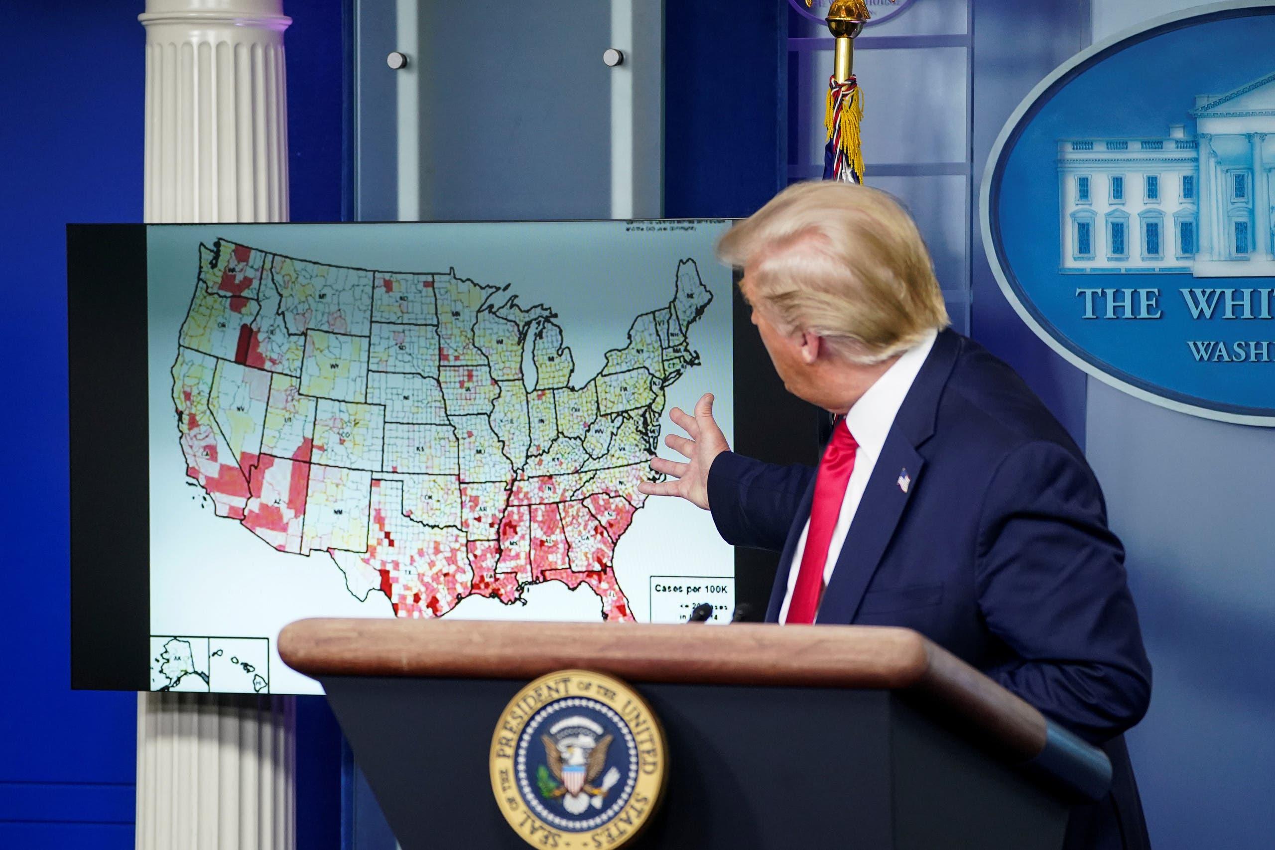ترمب خلال المؤتمر الصحافي في البيت الأبيض