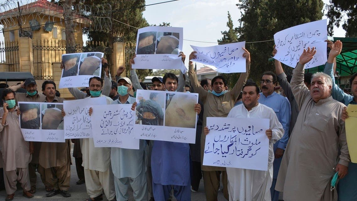 Pakistani journalists rally to condemn the alleged arrests of their colleagues by authorities for reporting lack of facilities in quarantine center set up to contain the spread of coronavirus in border town of Chaman, on June 23, 2020 in Quetta, Pakistan. (AP)