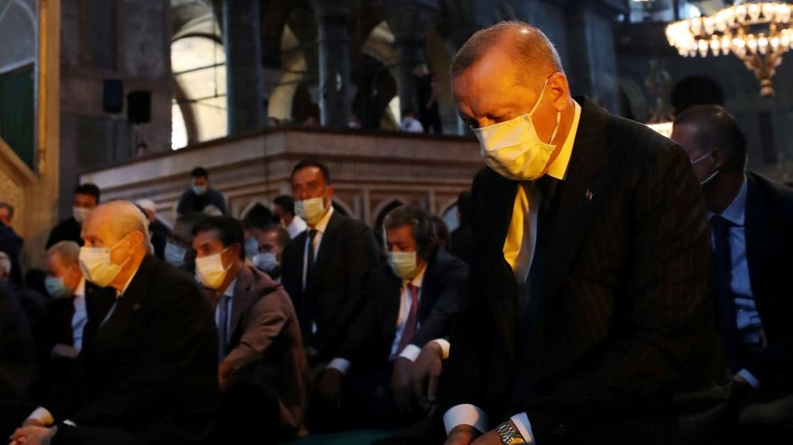 Turkey's President Tayyip Erdogan attends Friday prayers at Hagia Sophia Grand Mosque in Istanbul. (Reuters)