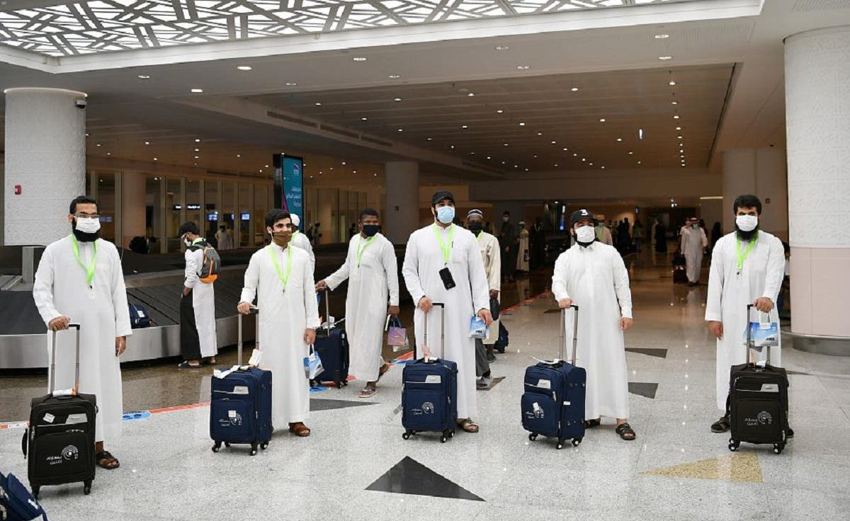 Hajj pilgrims arrive in Jeddah for this year's pilgrimage amid the coronavirus outbreak. (SPA / Twitter)