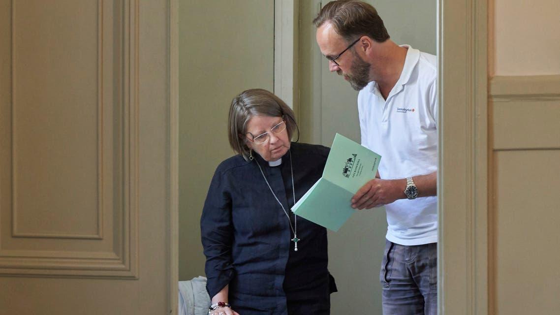Rev. Elisabeth Oberg Hansen of the Church of Sweden in Stockholm on July 23, 2020. (AP)
