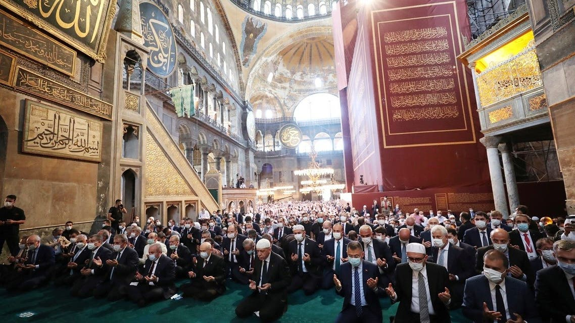 Turkish President Tayyip Erdogan attends Friday prayers at Hagia Sophia Grand Mosque in Istanbul, Turkey, on July 24, 2020. (Reuters)