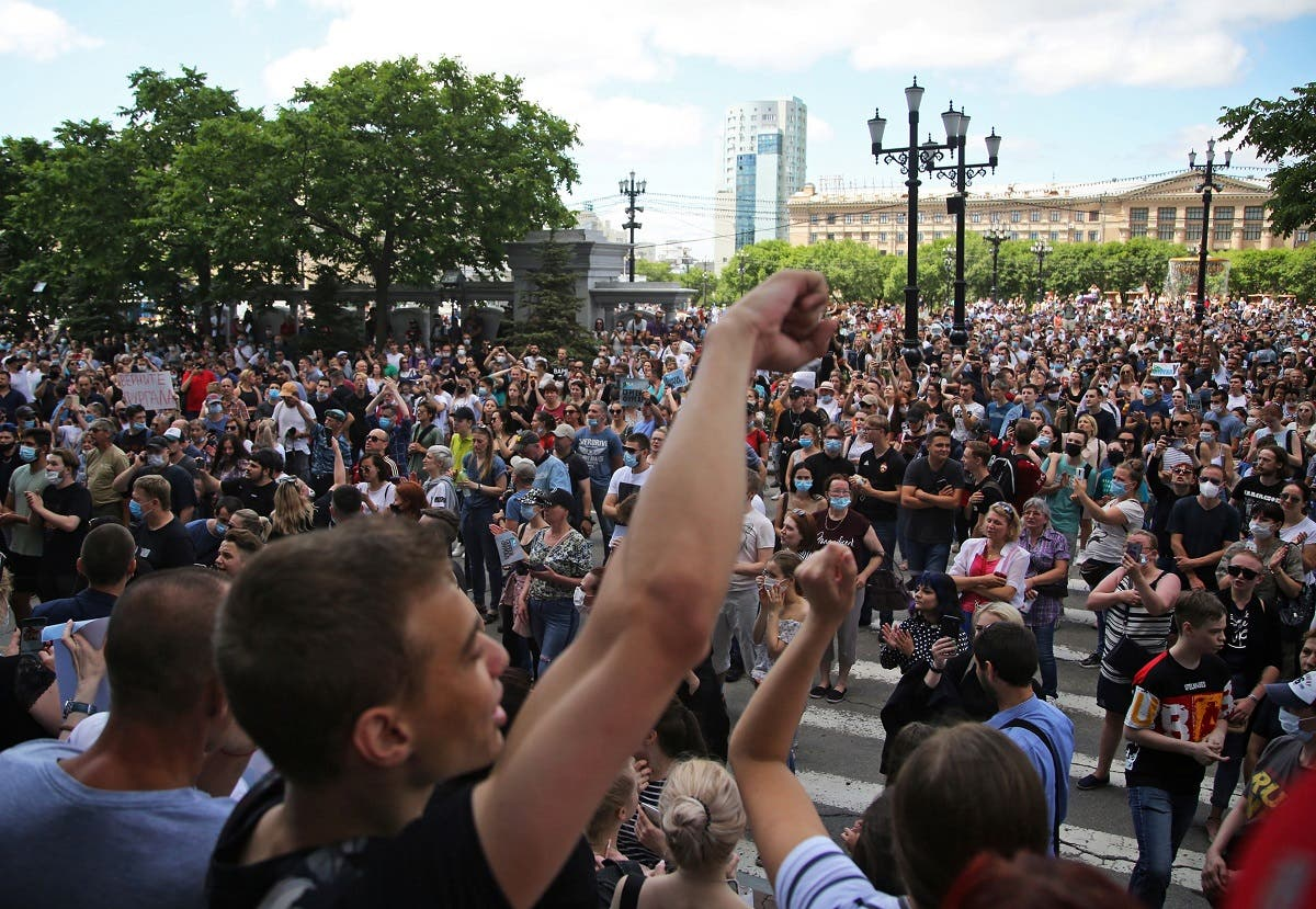 People take part in a rally in support of governor of the far eastern Khabarovsk region Sergei Furgal, who is being held in pre-trial detention after being charged with organising the murder of several entrepreneurs 15 years ago, in Khabarovsk, Russia, on July 11, 2020. (File photo: Reuters)