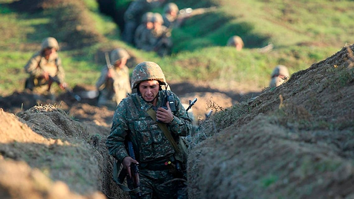 Armenian soldiers take their position on the front line in Tavush region, Armenia, July 14, 2020. (AP)