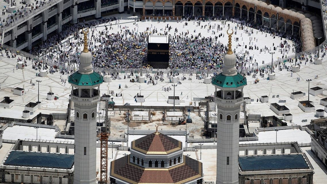 An aerial view of Kaaba at the Grand mosque in the holy city of Mecca, Saudi Arabia August 12, 2019. (Reuters)