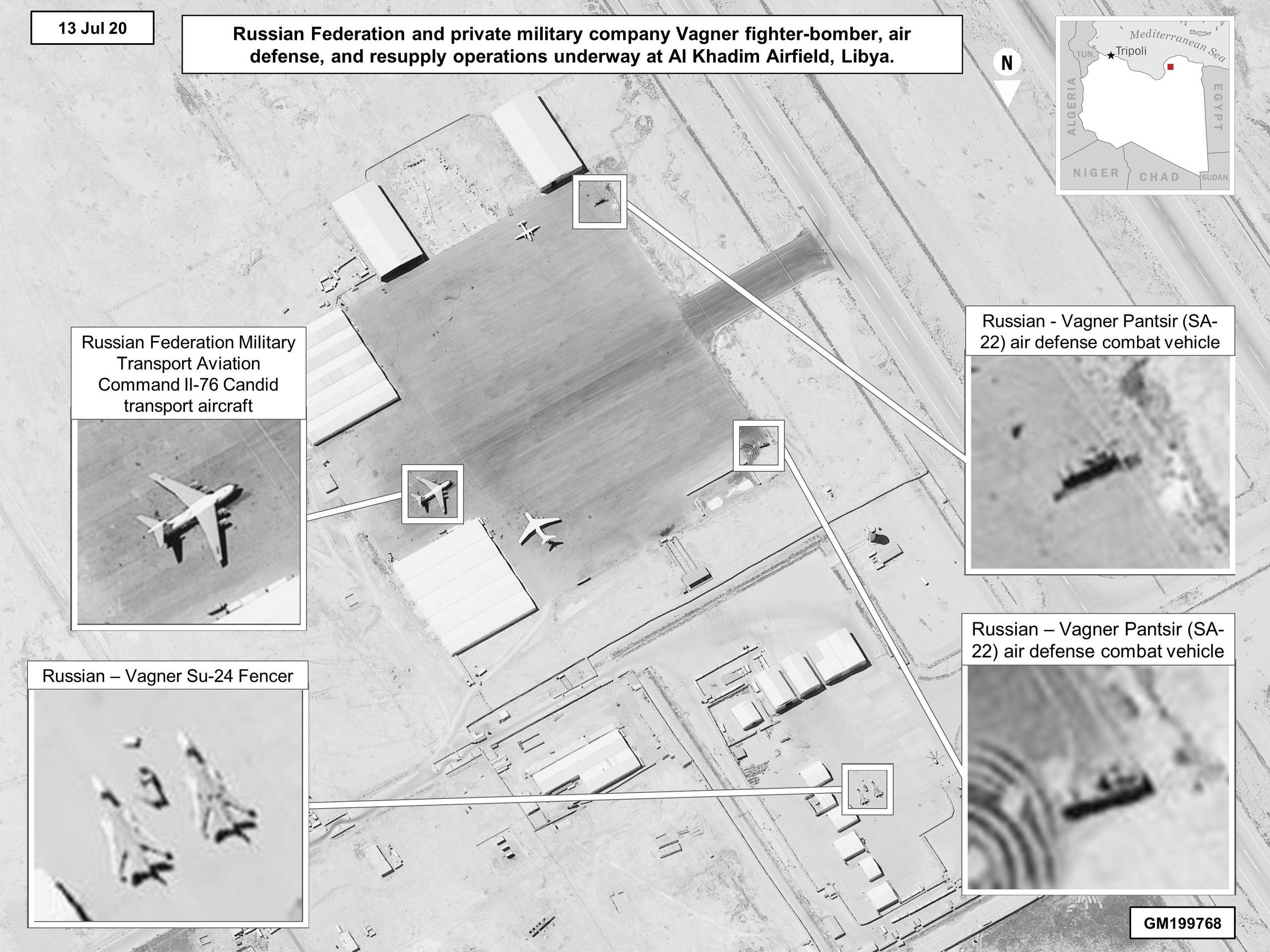 Imagery shows Russian involvement in Libya through the presence of Wagner Group military equipment. (US Africa Command)