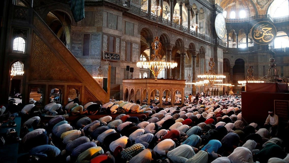Friday prayers at Hagia Sophia Grand Mosque for the first time in 86 years, in Istanbul. (Reuters)