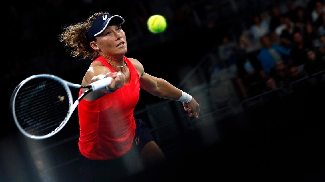 Australia's Samantha Stosur in action during the first round of the Australian Open match against Catherine McNally of the US, in Melbourne, Australia, on January 20, 2020. (Reuters)