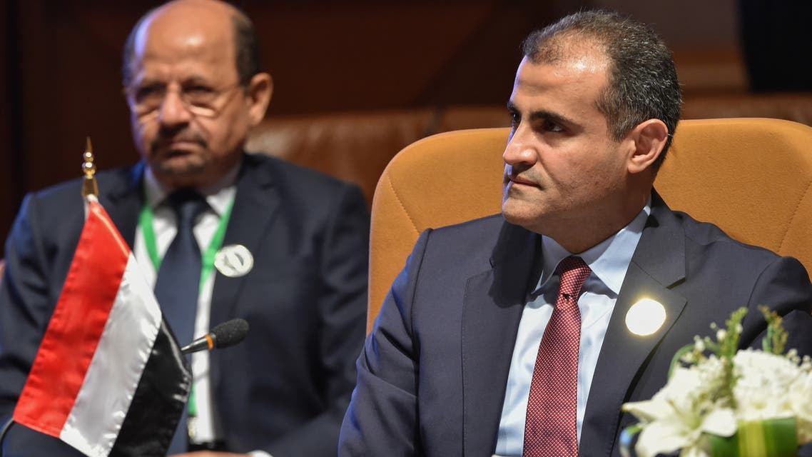 Yemen's Minister of Foreign Affairs Mohammad Al-Hadhrami attends a meeting for top diplomats of Arab and African coastal states, in the Saudi capital Riyadh on January 6, 2020. (AFP)