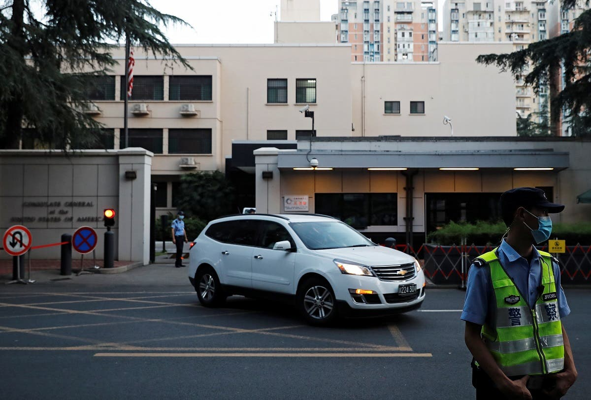 A car leaves the US Consulate General in Chengdu, Sichuan province, China, on July 26, 2020. (Reuters)