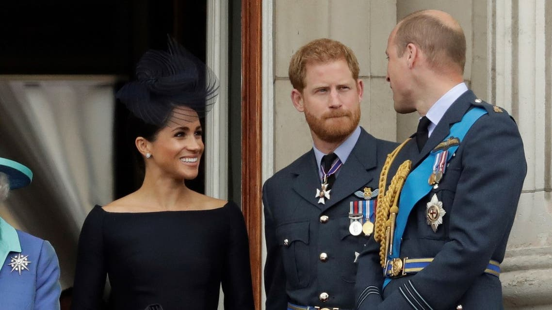 Meghan the Duchess of Sussex, left, Prince Harry, second left, and Prince William in London on July 10, 2018. (AP)