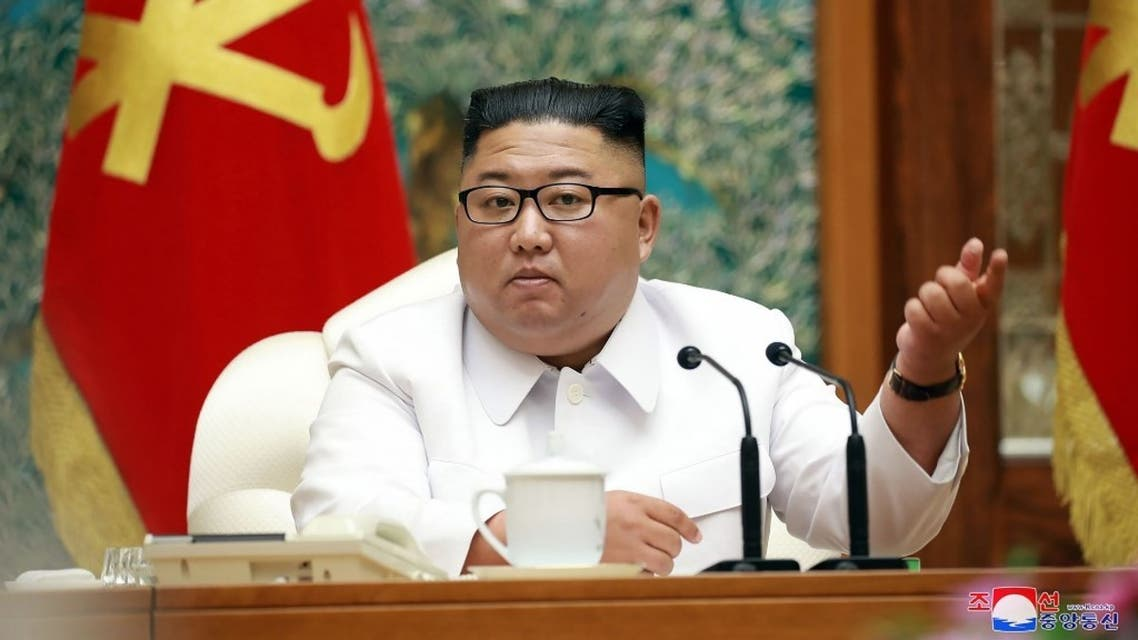 North Korean leader Kim Jong Un attending an emergency enlarged meeting of Political Bureau of WPK Central Committee at an undisclosed location on July 25, 2020. (KCNA via AFP)