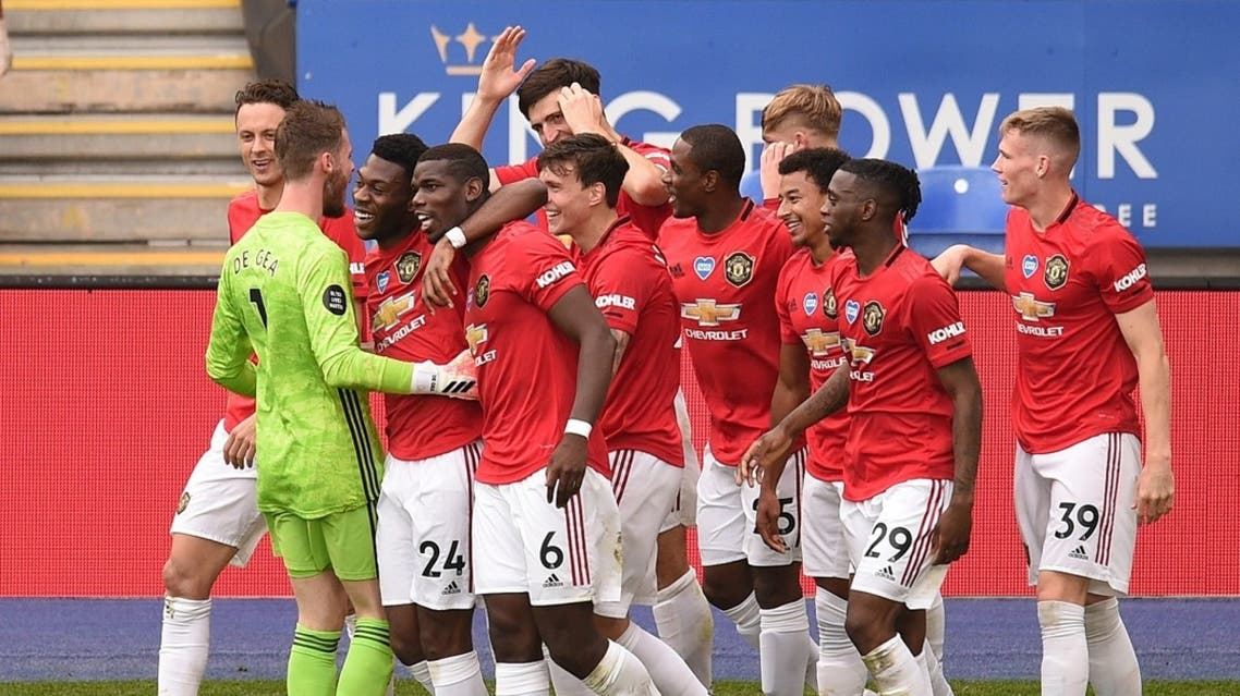 Manchester United's players celebrate during their game against Leicester, behind closed doors following the outbreak of the coronavirus disease, July 26, 2020. (Reuters)